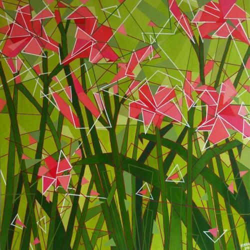 Obraz Akrylowy Geometryczne Kwiaty Malarstwo Abstrakcyjne Magdalena